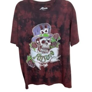 Poison graphic tee, size large (42/44), black/red